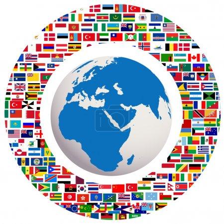 Photo pour Globe terrestre avec tous les drapeaux - image libre de droit