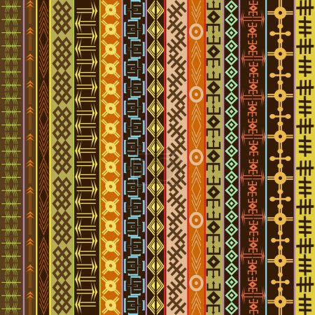 Texture with ethnic geometrical ornaments, colored African motif