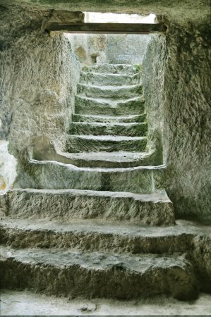 Staircase in the ruins of the ancient cave city