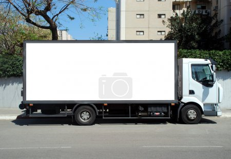 Photo for Blank white sign on a truck - Royalty Free Image