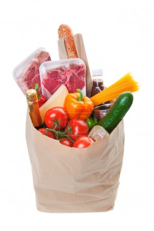 Photo for A grocery bag full of Meat with healthy fruits and vegetables - Royalty Free Image