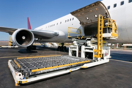 Photo for Loading platform of air freight to the aircraft - Royalty Free Image