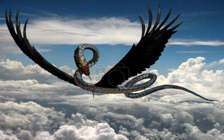 Photo pour Una ilustración de la trama de una criatura de fantasía - una serpiente voladora masculina (bestia mágica) llamado alcorn. - image libre de droit