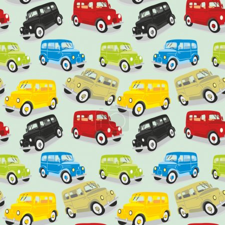 Illustration for Fully editable vector illustration seamless pattern vintage cars - Royalty Free Image
