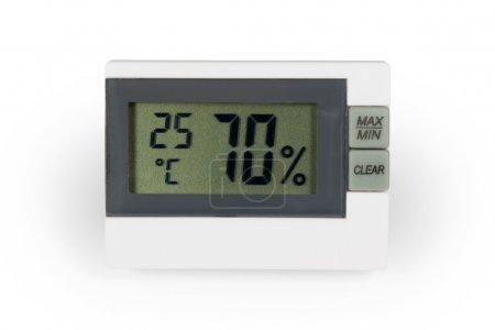 Photo pour Digital thermo hygromètre. isolé sur fond blanc avec un tracé de détourage. - image libre de droit