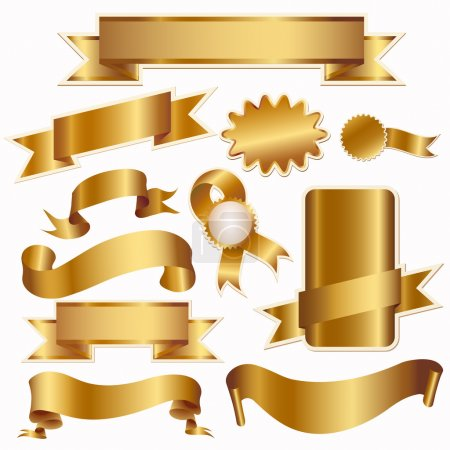 Illustration for Golden ribbons and labels isolated on white, vector illustration - Royalty Free Image