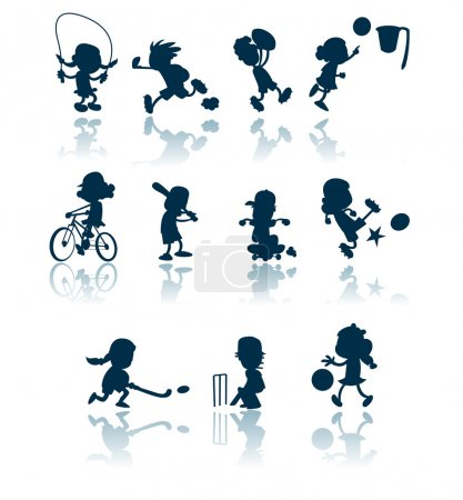 Photo for A collection of silhouettes / cutouts of children engaged in various sporting activities. - Royalty Free Image