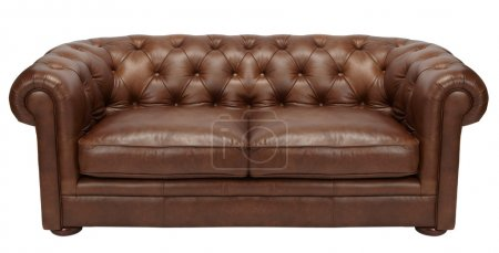 Image of a modern brown leather sofa over white background