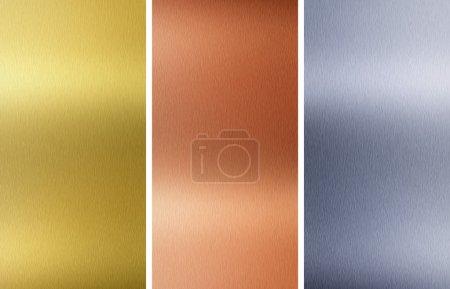 Photo pour Aluminium, bronze et laiton cousues textures - image libre de droit