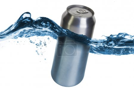Blank can dropped into water with splash isolated on white