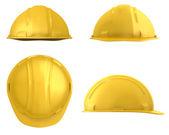 """Постер, картина, фотообои """"Желтые строительство четырех представлений шлем изолирован на белом"""""""