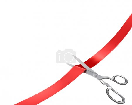 Scissors cut ribbon, corner version, isolated on w...
