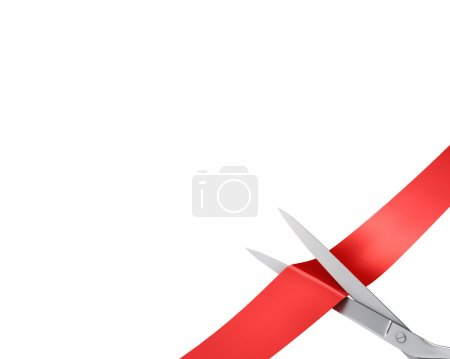 Photo for Scissors cut ribbon, closeup corner version isolated on white background - Royalty Free Image