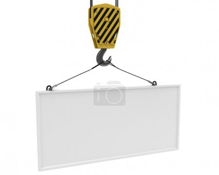 Yellow crane hook lifting white blank plane for text