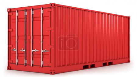 Red freight container isolated
