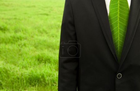 Photo for Businessman with green leaf tie on the grass field - Royalty Free Image
