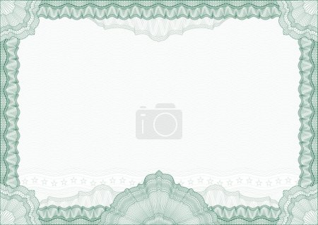 Illustration for Classic guilloche border for diploma or certificate with protective ornament. Vector. A4 , CMYK color . Layers are separated! Editing is easy - Royalty Free Image