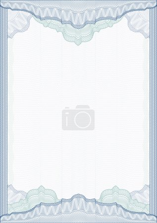 Classic guilloche border for diploma or certificate . vector . A4