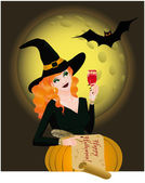 Happy Halloween greeting card with beautiful witch vector