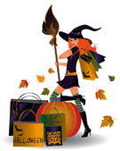 Halloween sale Sexy witch and shopping bags vector illustration