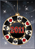 Christmas casino card poker chip 2011 new year vector illustration