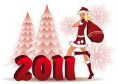 Happy New 2011 year card with santa girl vector