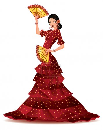 Illustration for Spanish girl with two fans dances a flamenco, vector illustration - Royalty Free Image
