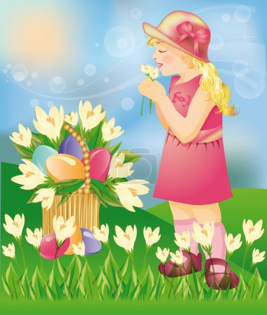 Little girl with Easter eggs. vector illustration