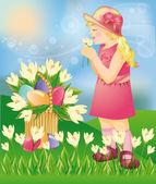 Little girl with Easter eggs vector illustration