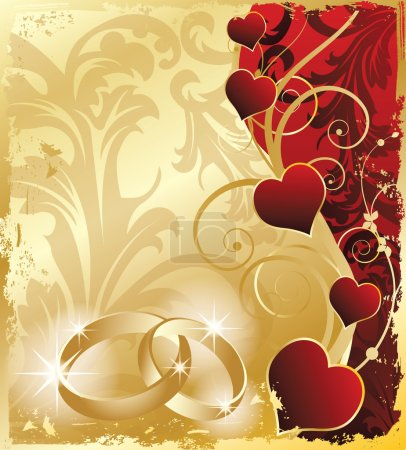Illustration for Wedding invitation card with rings and hearts, vector illustration - Royalty Free Image