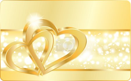 Illustration for Love card with Wedding heart rings, vector illustration - Royalty Free Image