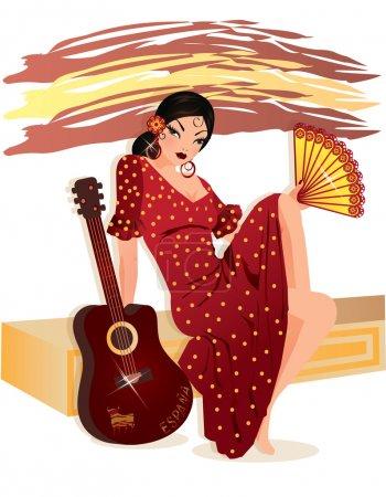 Illustration for Spanish women, vector illustration - Royalty Free Image