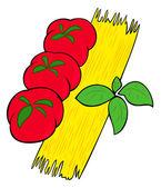 špagety, rajčata a bazalka listy