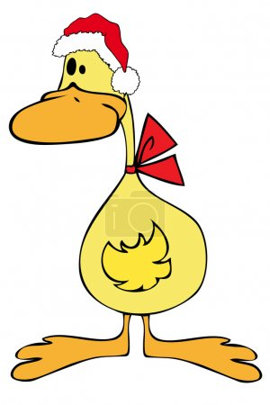 Illustration for Duck with Santa Claus Hat. - Royalty Free Image