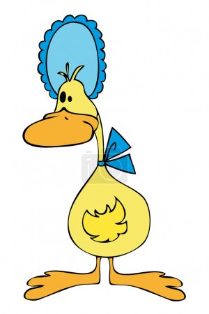 Illustration for Duck with Blue Bonnet. - Royalty Free Image