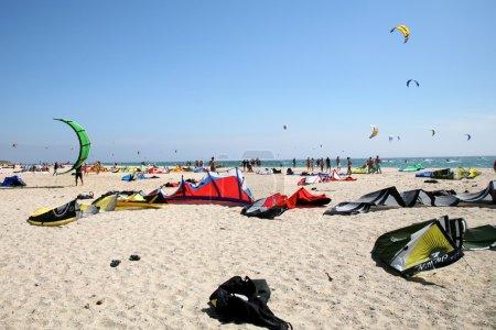Kitesurf equipment on the beach