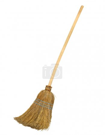 Photo for Old straw broomstick ready fly or sweep isolated on white background - Royalty Free Image