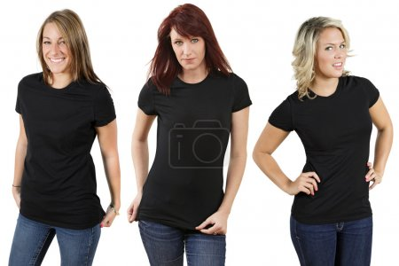 Photo for Young beautiful women with blank black shirts. Ready for your design or logo. - Royalty Free Image