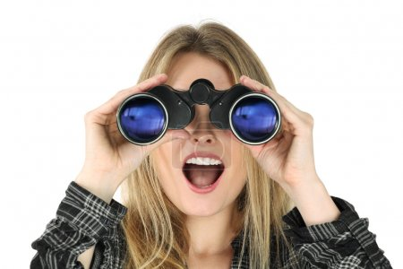 Woman with binoculars looking shocked
