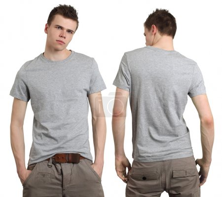 Photo for Young male with blank gray t-shirt, front and back. Ready for your design or logo. - Royalty Free Image
