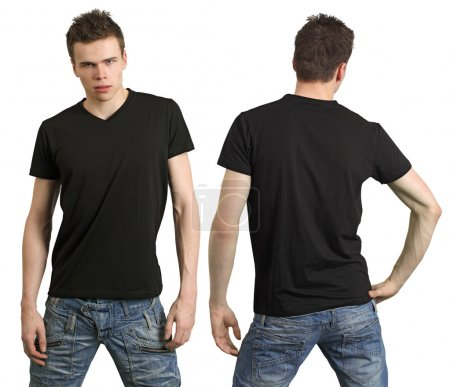 Photo for Young male with blank black shirt, front and back. Ready for your design or logo. - Royalty Free Image