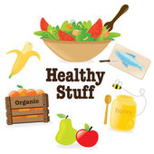 Illustration of healthy items isolated on white