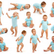 Collection of various situations of a baby boy's b...