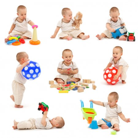 Foto de Collage de un niño jugando con varios juguetes. Aislado sobre blanco - Imagen libre de derechos