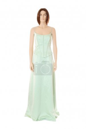 Female mannequin in green cocktail dress | Isolated