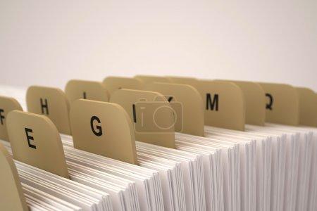 Alphabetic organizer on a beige background. 3d ren...
