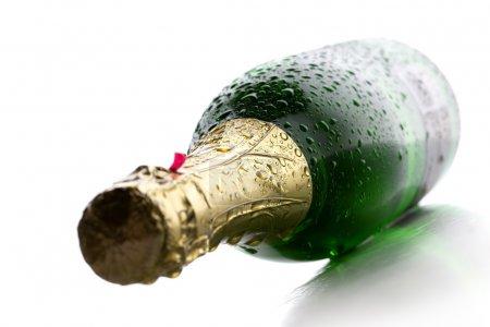 Wet Champagne bottle
