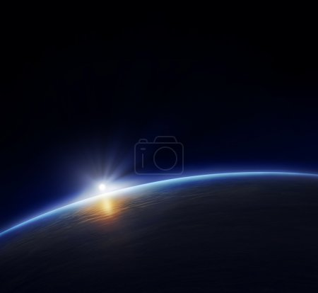 Photo for Planet Earth with rising sun in space - Royalty Free Image