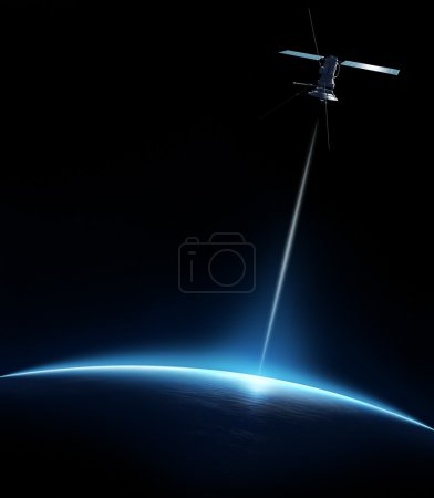 Photo for Communication satellite beaming a signal down to earth - Royalty Free Image
