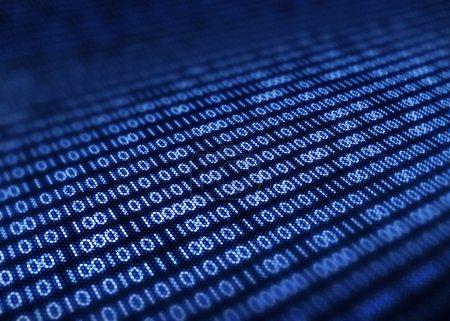 Photo pour Code binaire sur écran pixellisé de détail - rendu 3d avec mise au point sélective - image libre de droit